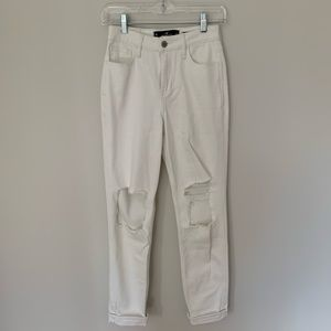 Hollister Ultra High-Rise Mom Jean White Destroyed